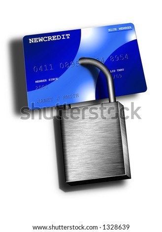 A padlock locks up a credit card - stock photo