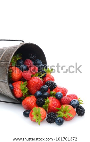 A pail laying on its side with assorted fresh picked berries spilling out. Strawberries, blueberries, blackberries and raspberries shown in vertical format with copy space. - stock photo