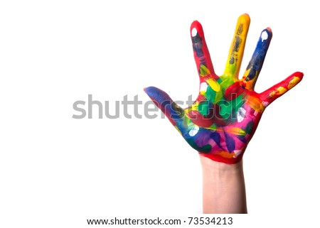 a painted colorful hand against a white background and text space