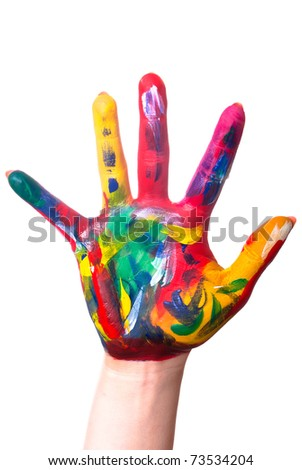 a painted colorful hand upright before a white background