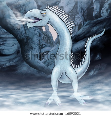 a painted illustration of an armless frost dragon character in a cave of ice