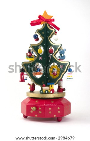 A painted wooden Christmas tree