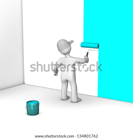 A painter with a big roller and bucket with cyan paint. - stock photo