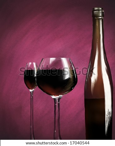 a painting of two goblets next to a bottle of red wine