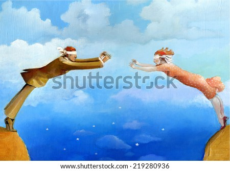 a pair blindfolded approaches from two hills forming a bridge trusting each other - stock photo