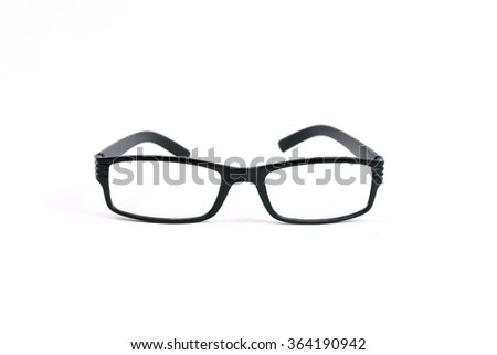 A pair of black reading glasses isolated on white background.