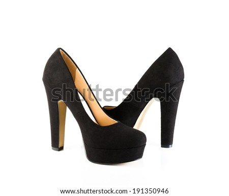 a pair of black velvet shoes isolated on white background - stock photo