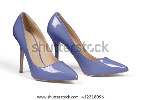 A pair of blue high heel shoes isolated on white with clipping path.