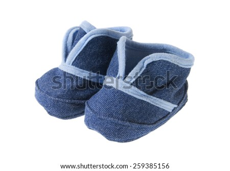 A pair of blue infant shoes isolated on a white background.