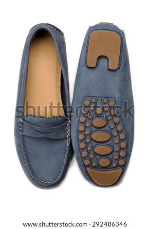 A pair of blue suede shoes. Isolate on white. - stock photo