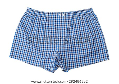 A pair of boxer shorts (underwear) isolated on white background. - stock photo