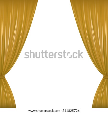 A pair of brown drapes on white with copy space. Raster.