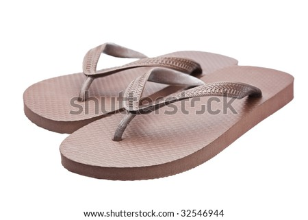 A pair of flipflops or beach sandals isolated on white background - stock photo