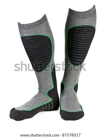 a pair of gray socks ski isolated on a white background - stock photo