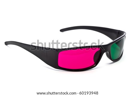 A pair of green-magenta anaglyph 3D glasses on a white background.