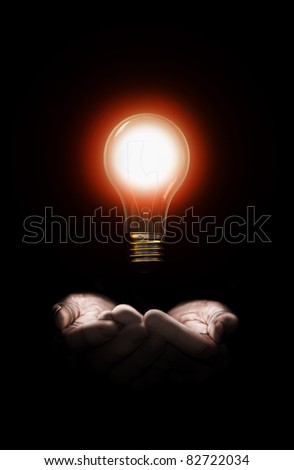 A pair of hand holding a bright idea - stock photo