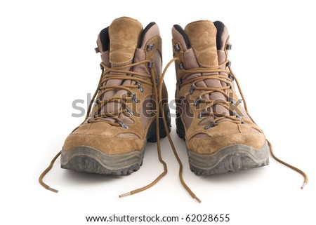 A pair of Hiking boots, isolated on white background - stock photo