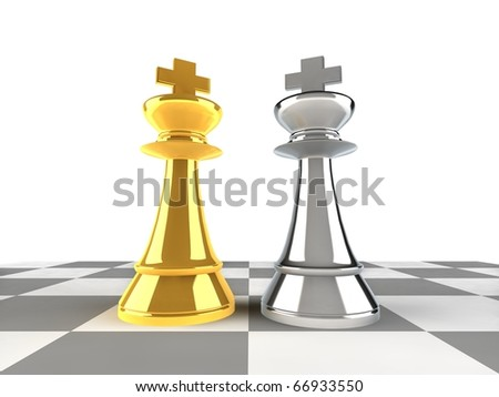 A pair of king chess pieces - stock photo