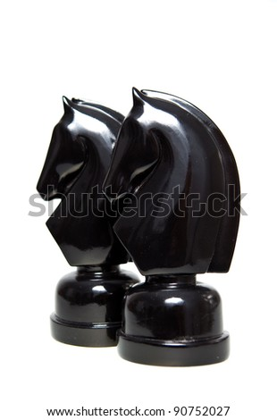 A pair of knight on a clear background. - stock photo