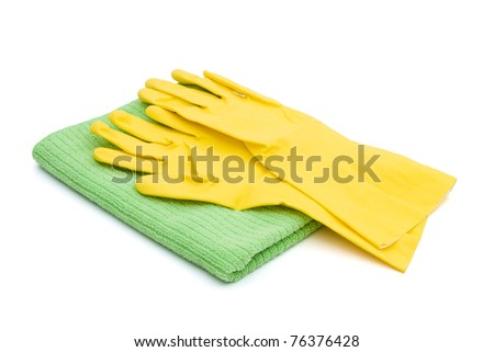 A pair of latex cleaning gloves with a green towel isolated on white,  Cleaning Time