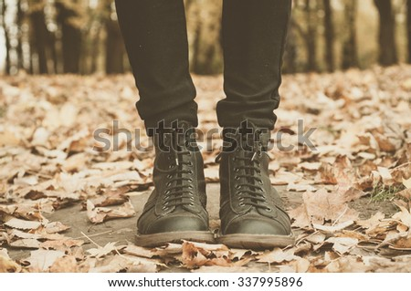 A pair of Leather Boots in the forest