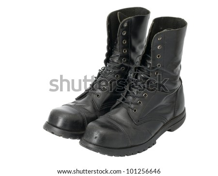 A pair of leather steel-capped boots - stock photo