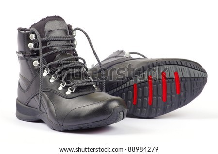 A pair of men's  shoes on white - stock photo