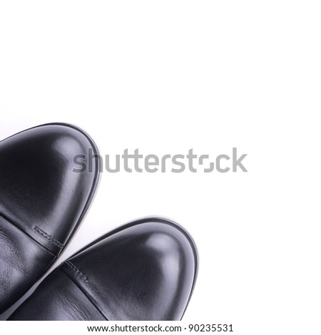 A pair of men's shoes top view,  isolated - stock photo