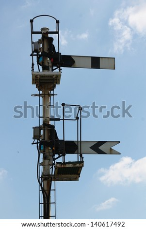 A pair of old fashioned semaphore railway signals, home and distant. - stock photo