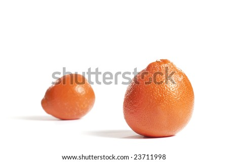 A pair of oranges isolated on white.