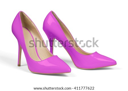 A pair of pink high heel shoes isolated on white with clipping path.