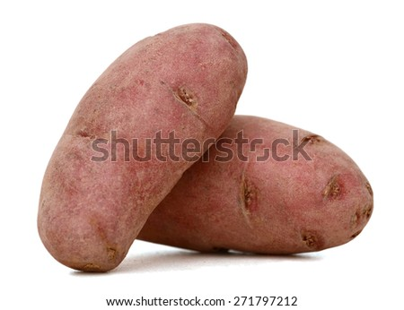 a pair of red fingerling potato on white background  - stock photo