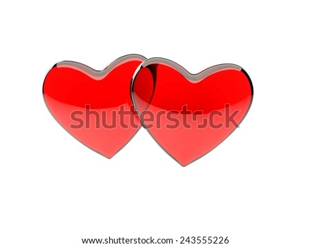 a pair of red, translucent glass hearts isolated on white background - stock photo