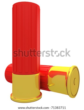a pair of shotgun shells isolated over white background - stock photo