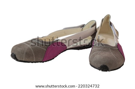 A pair of suede women's shoes low-heeled shoes on a white background isolated - stock photo