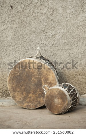 A pair of traditional African drums in South Sudan - stock photo