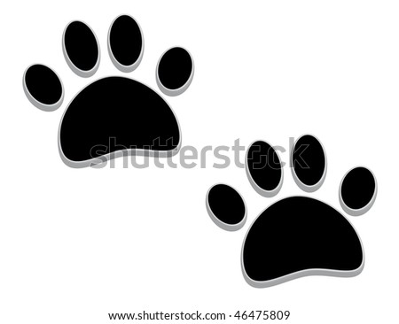 A pair of tridimensional animal footprints - stock photo