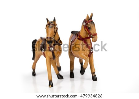 a pair of wooden horse / sculptured wood