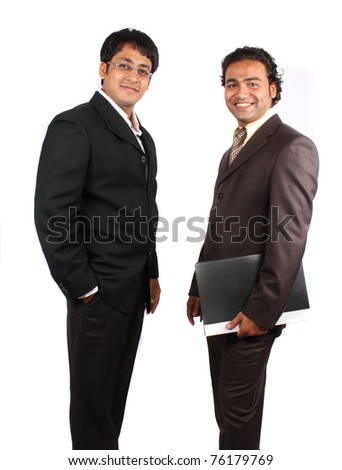 A pair of young Indian businessmen in a happy mood after a meeting, isolated on white studio background. - stock photo