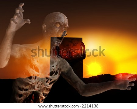 A pair of zombies emerging from the ground with a atmospheric background. - stock photo