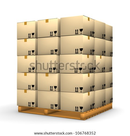 A pallet with boxes on the white background. - stock photo