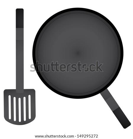 a pan and spatula - stock photo