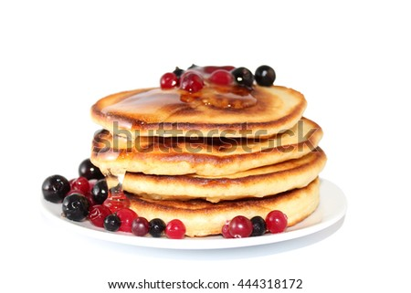 A pancake is a flat cake, often thin, and round, prepared from a starch-based batter that may also contain eggs, milk and butter and cooked on a hot surface such as a griddle or frying pan.