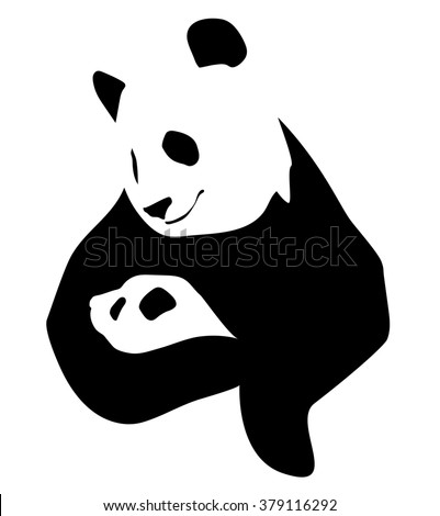 A panda holds in the paws of little baby, illustration