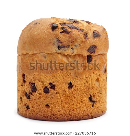a panettone, a typical Italian sweet for Christmas time, on a white background - stock photo