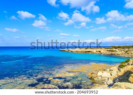 A panorama od a Blue Lagoon in Akamas National Park, Cyprus - stock photo