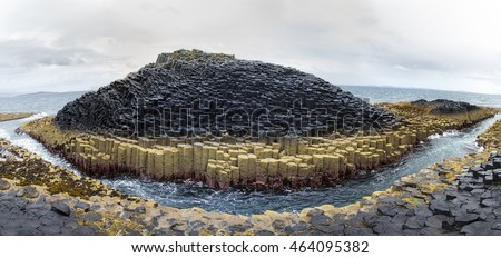 A panorama of he basalt columns of Staffa Island at Fingal s cave, Inner Hebrides, Scotland.
