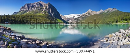 A panorama of lake louise - stock photo