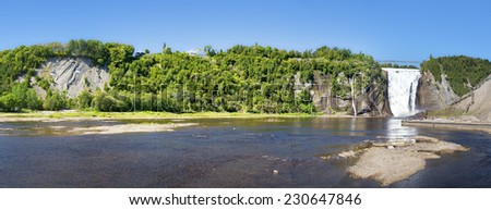 A panorama of Montmorency Falls, Quebec City, Canada - stock photo