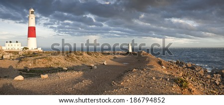 A panorama of Portland Bill during a storm - stock photo